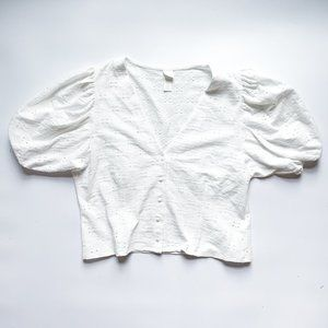 H&M White Puff-Sleeve Button-Front Blouse